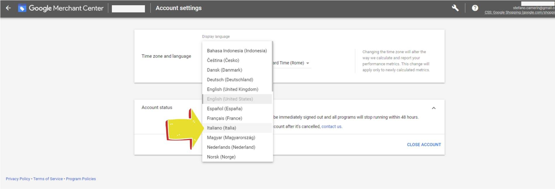 impostazione lingua italiana in Google Merchant Center