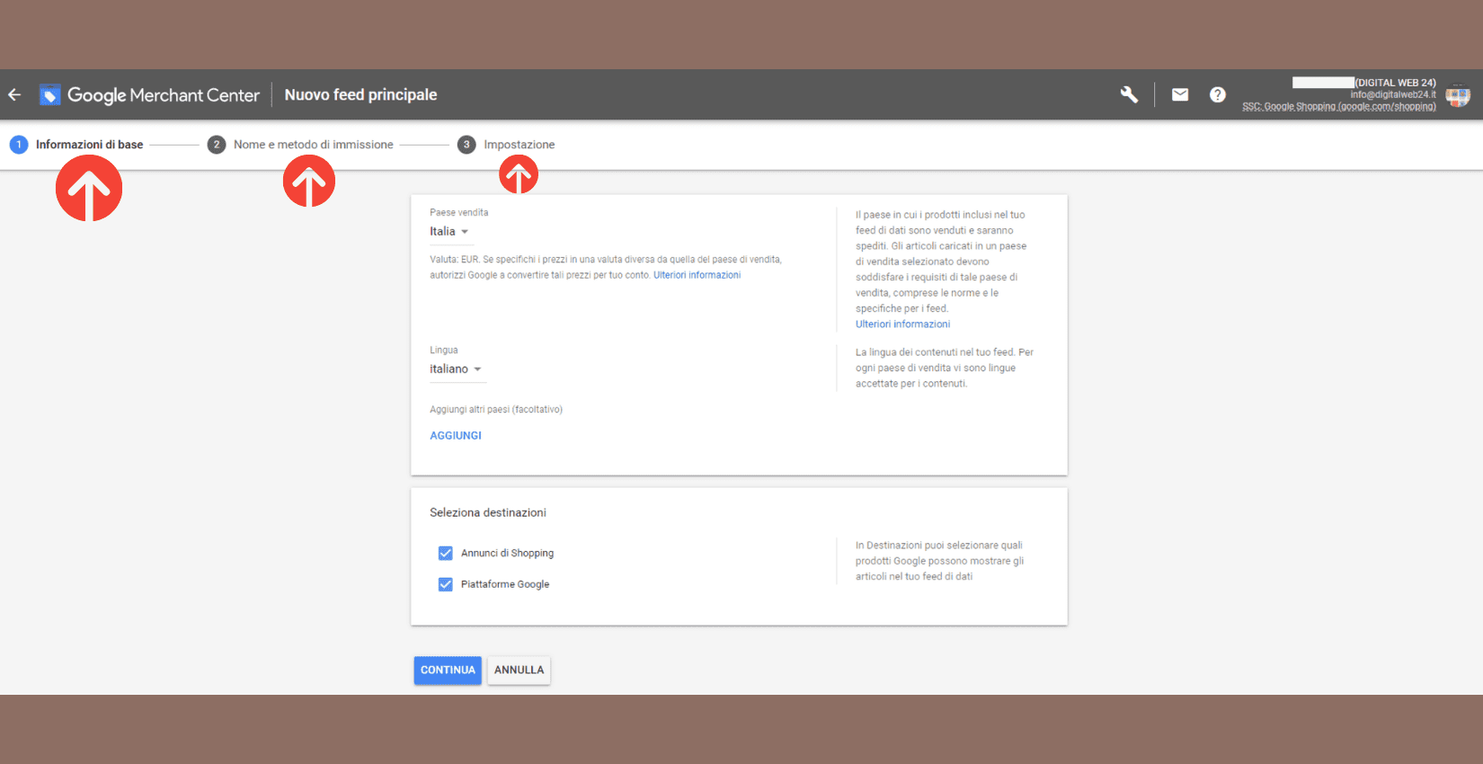 Schermata Merchant Center per inserimento informazioni e impostazione account