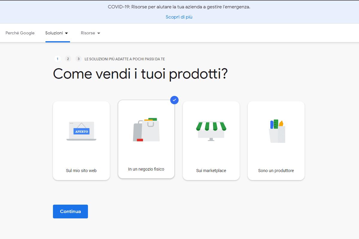 Schermata Google Shopping per Retail: targhetta con spunta selezionata per vendere i prodotti in un negozio fisico