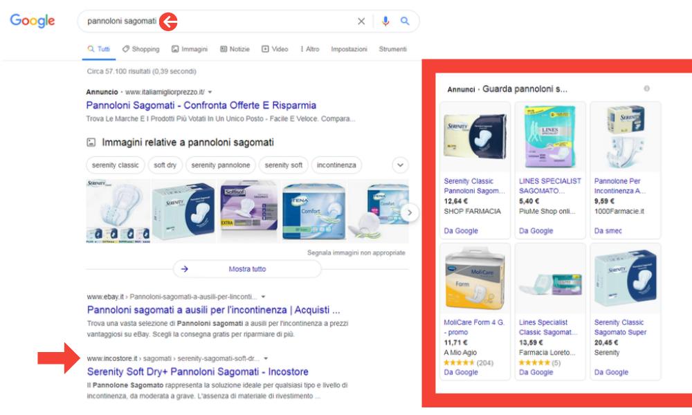 Visualizzazione da desktop della ricerca di Google Shopping per ricerca: pannoloni sagomati