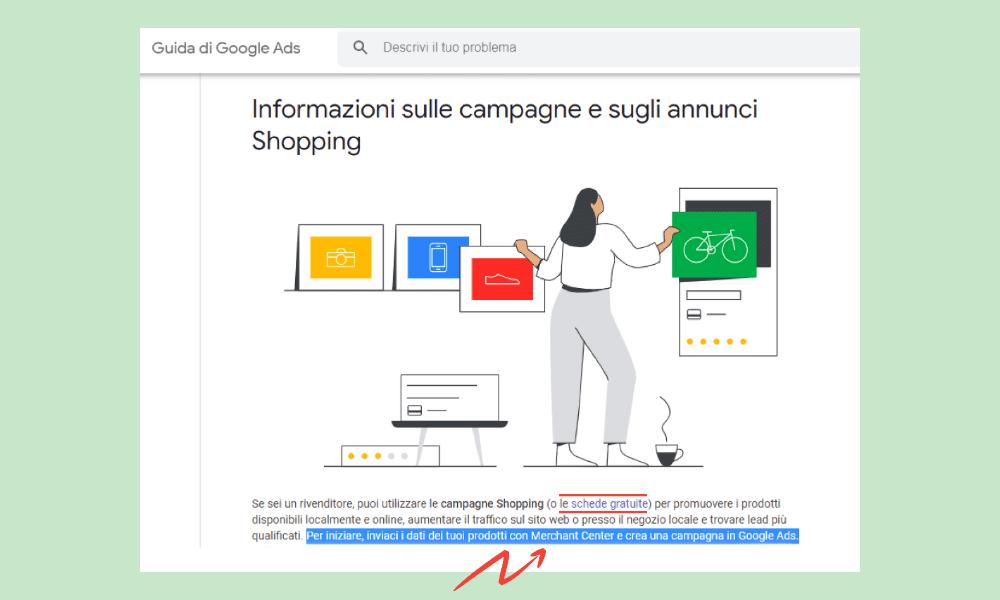 Una parte dell'immagine di Google dedicata alle informazioni di Google Shopping