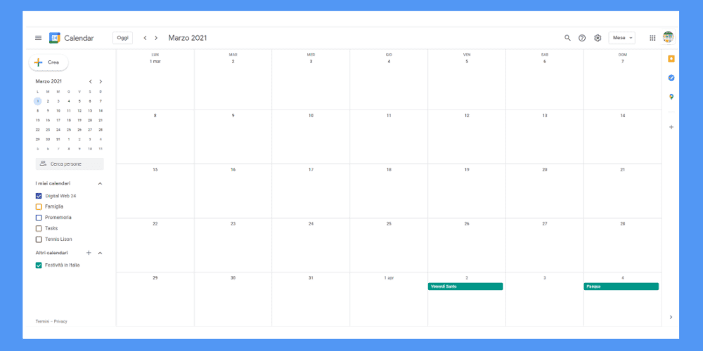 Google Calendar Marzo 2021 Digital Web 24 Expert Agency