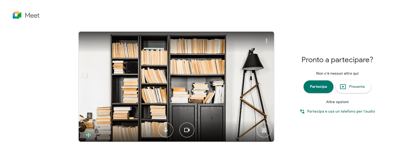Sfondo di una Libreria: Videoconferenza Meet Google. Partecipa - Presenta