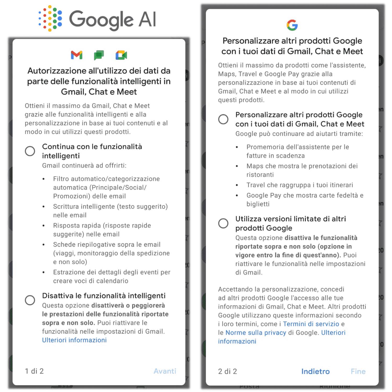 Immagine 2 schermate: attivare e/o disattivare le richieste di autorizzazioni delle funzionalità intelligenti