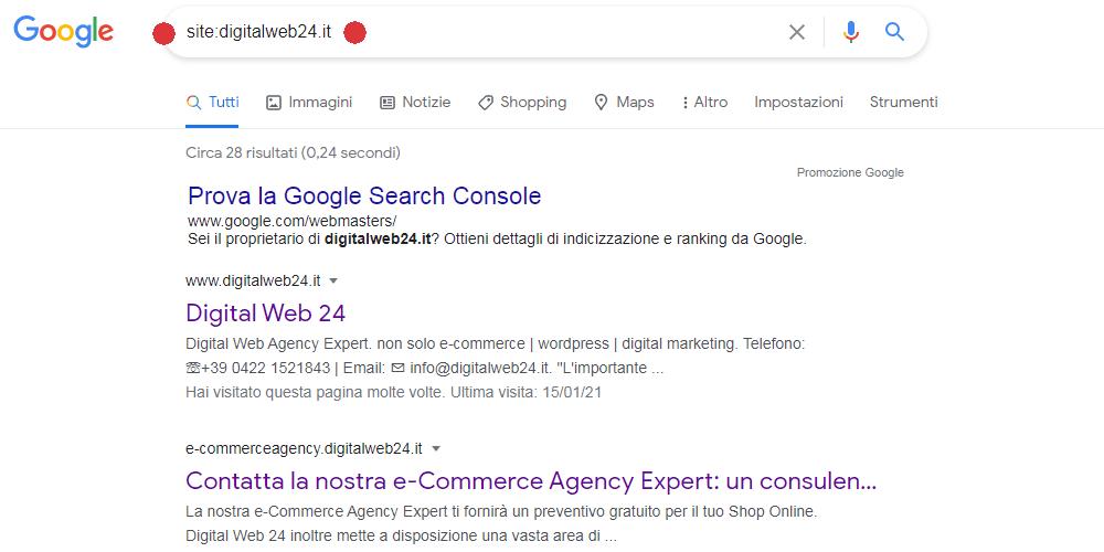 Esempio indicizzazione nella pagina di Google per la web agency Digital Web 24