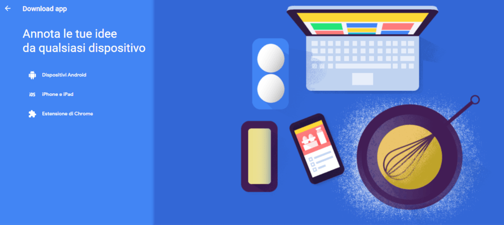 Locandina Keep Download: computer smartphone sulla tavola con piatto, uova e mestolo