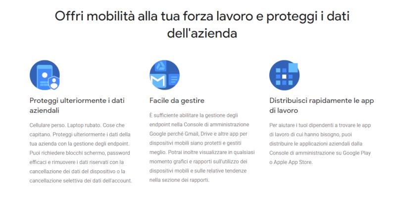 Locandina pagina Google Endpoint: protezione, facile gestione, distribuzione delle app