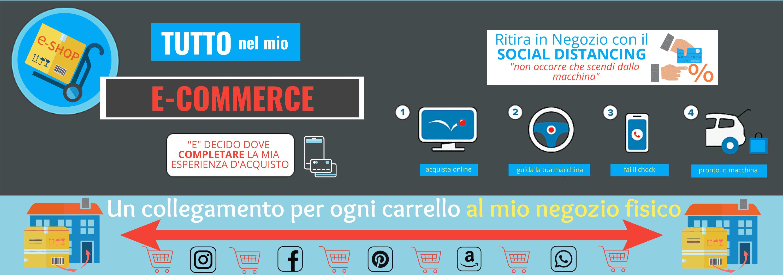 Esempio di E-Commerce futuristico con collegamenti ai Social Network e Social Distancing