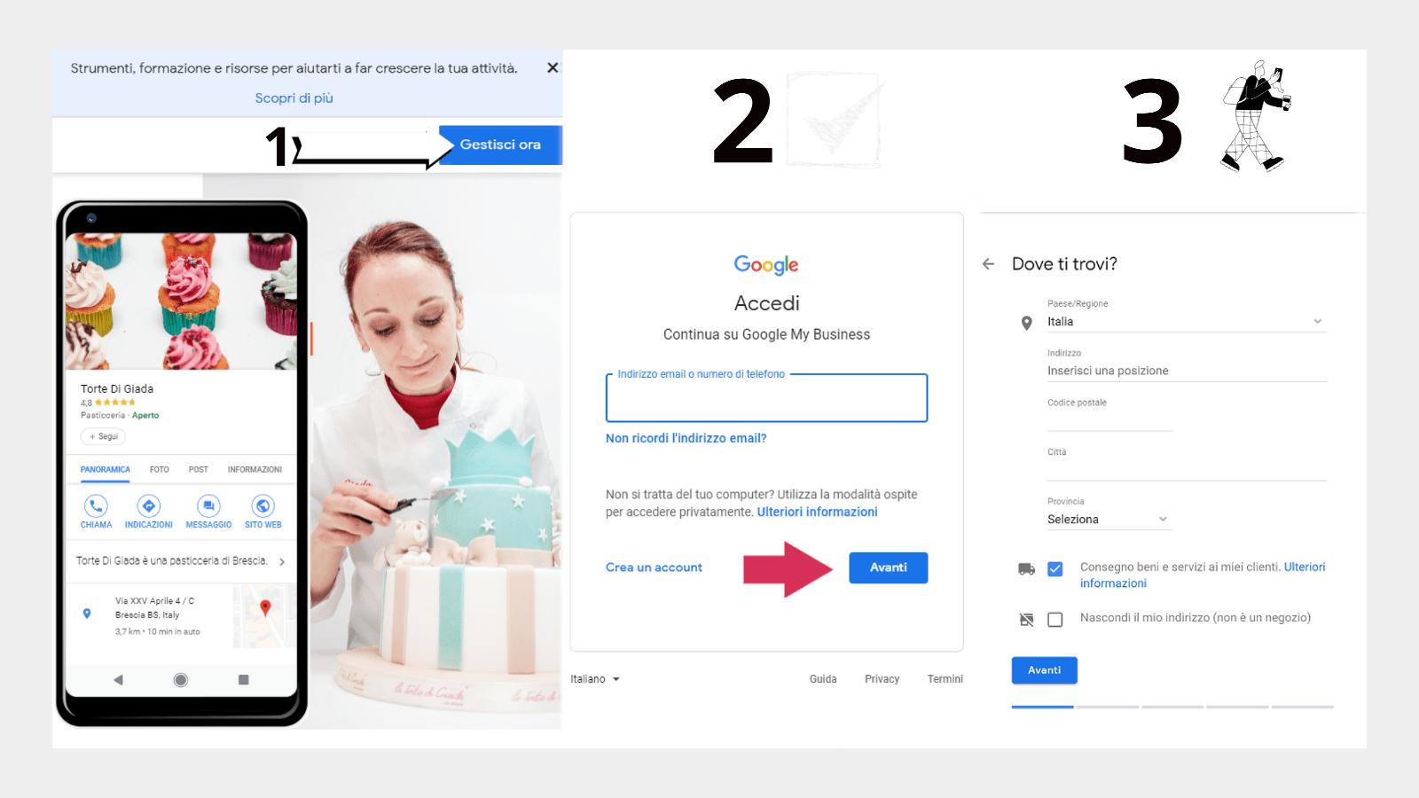 Primi tre passi per creare un nuova scheda Google My Business con account gmail.com