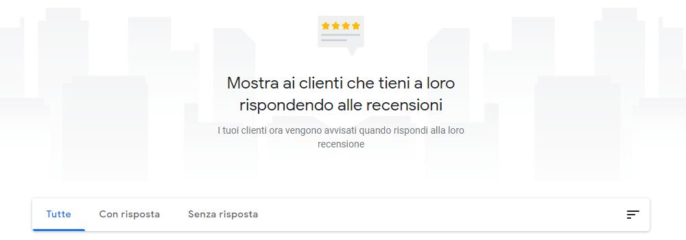 Screenshot dedicata alla sezione delle recensioni di Google My Business