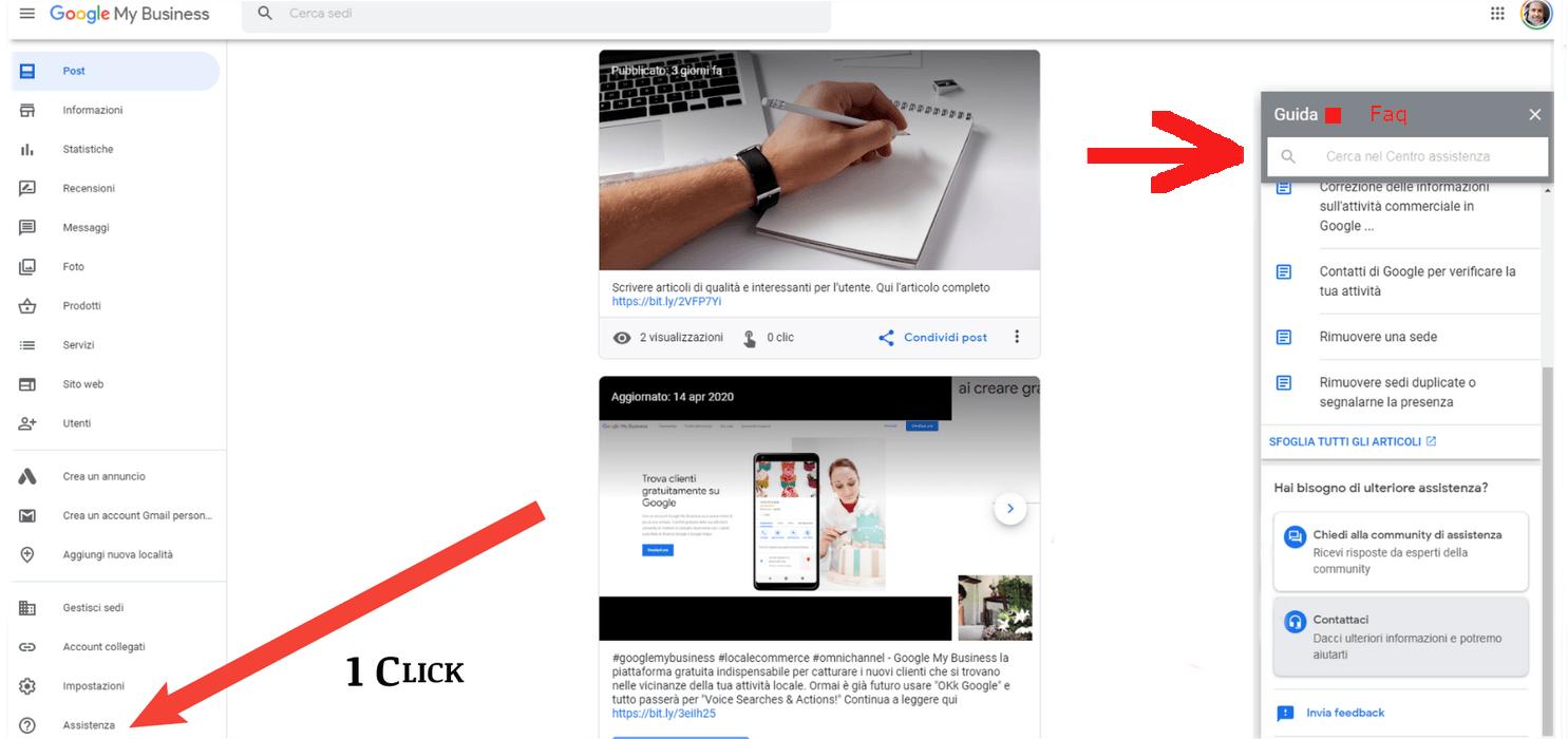 Assistenza Google My Business vista da Desktop