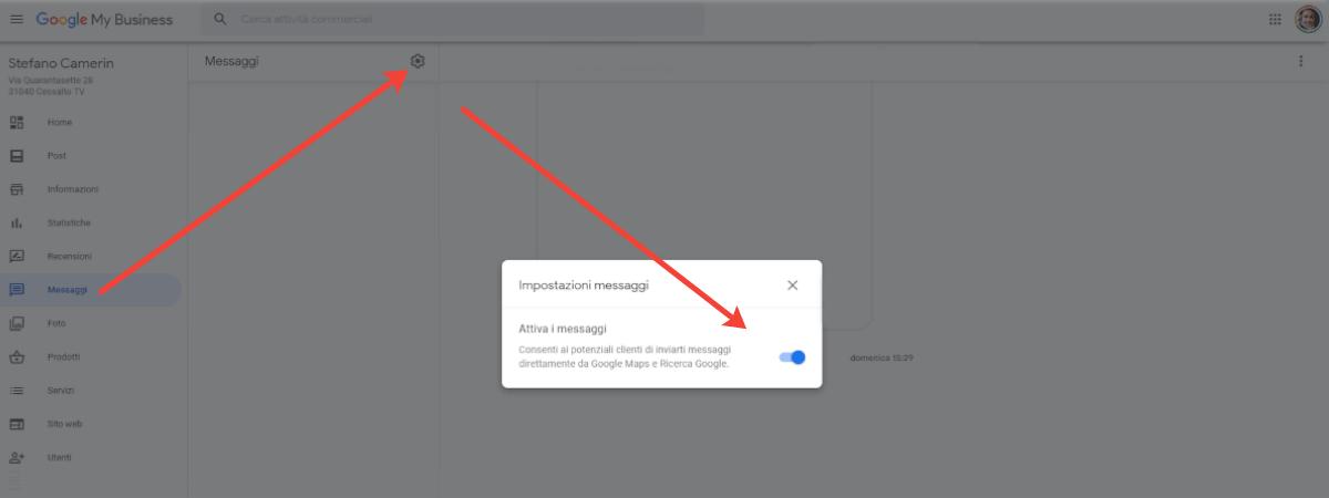 Screenshot schermata impostazioni messaggi Google My Business