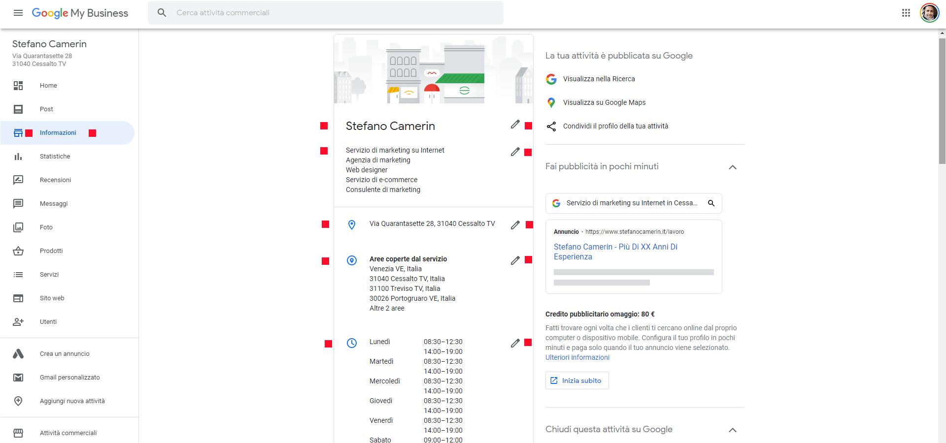 Screenshot della sezione sinistra di Google My Business per inserire informazioni aziendali