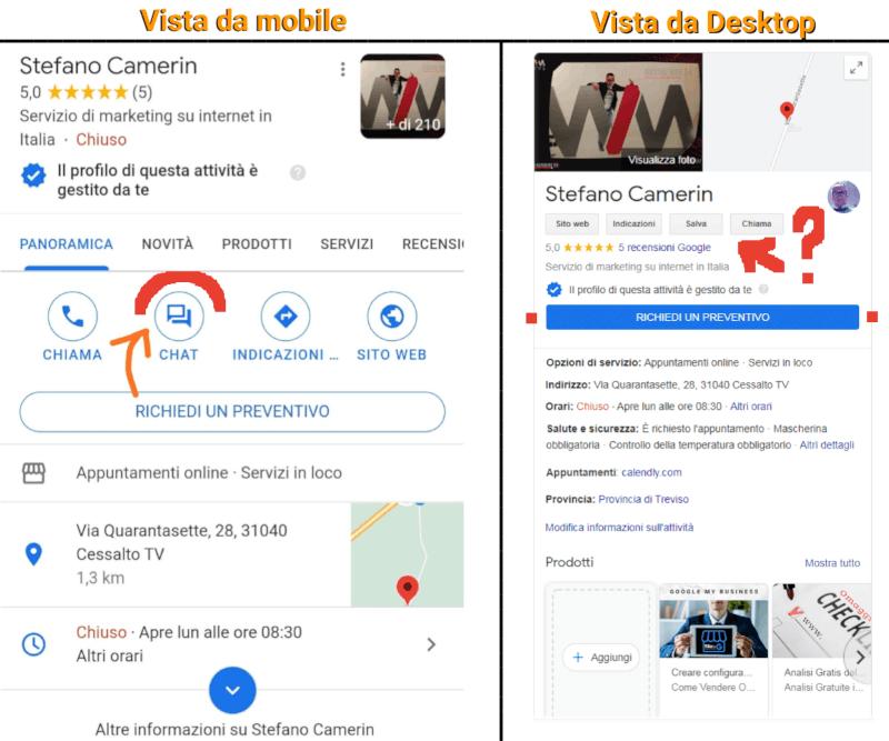 Scheda Google My Business di Stefano Camerin vista da Mobile e Desktop