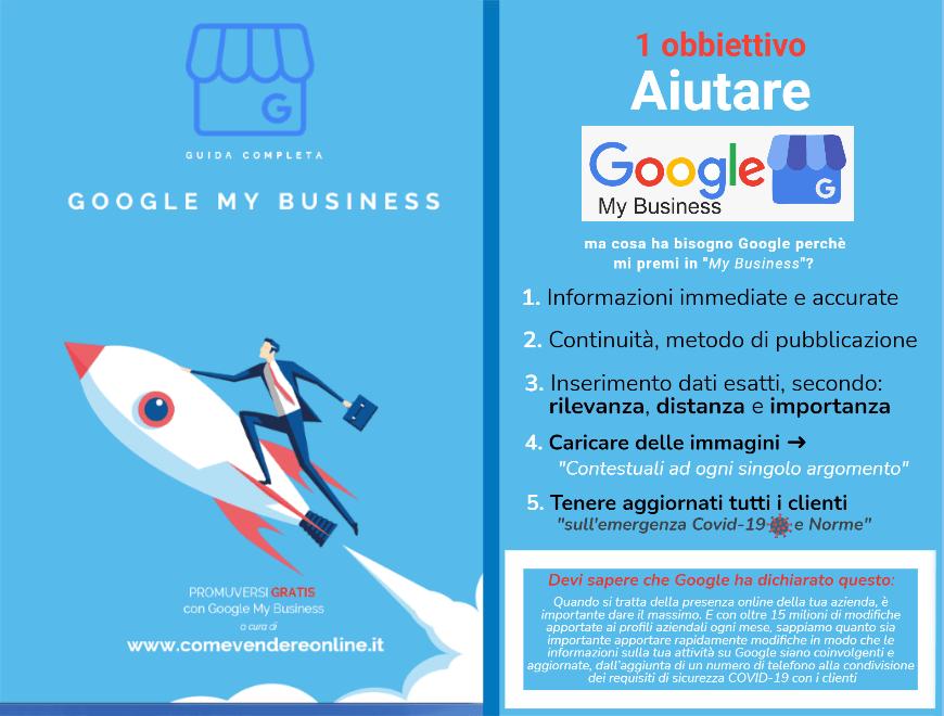 Infografica Locandina Guida completa Google My Business. Aiutare Google perché lui mi aiuti nel My Business.