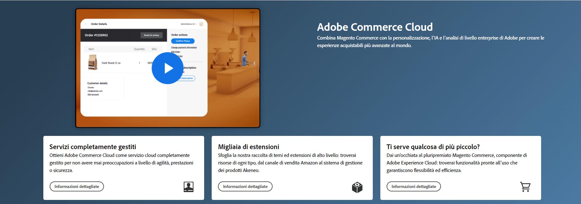 Screenshot pagina Adobe Commerce Cloud con presentazione Video