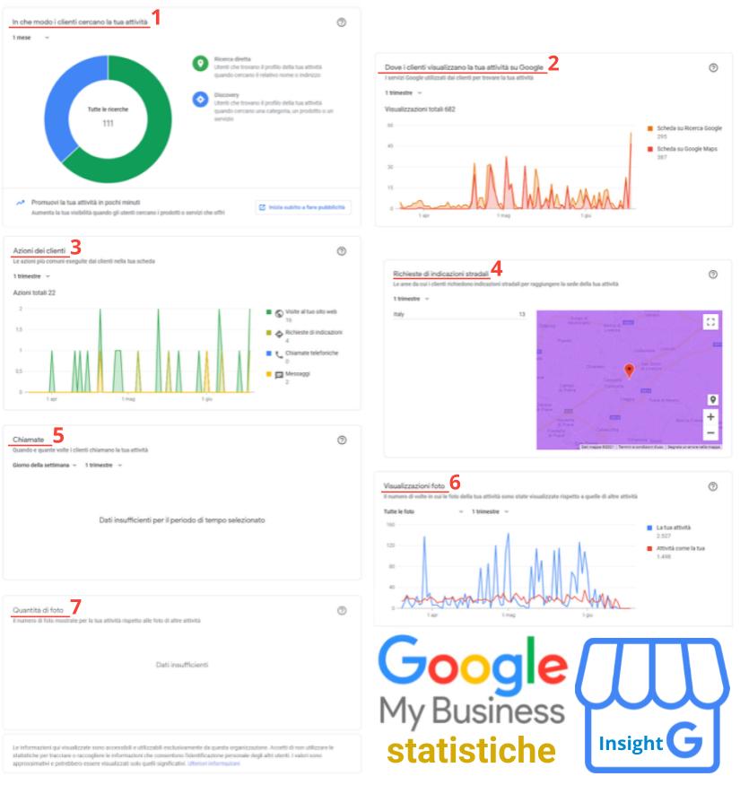 Infografica statistiche scheda Google My Business di Stefano Camerin: sezioni degli Insight Google