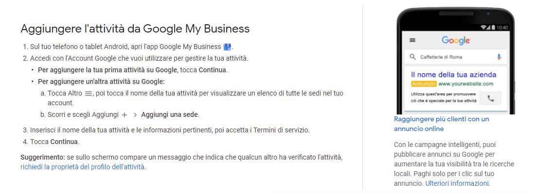 Screenshot da pagina Guida di Google My Business: aggiungere l'attività da Google My Business