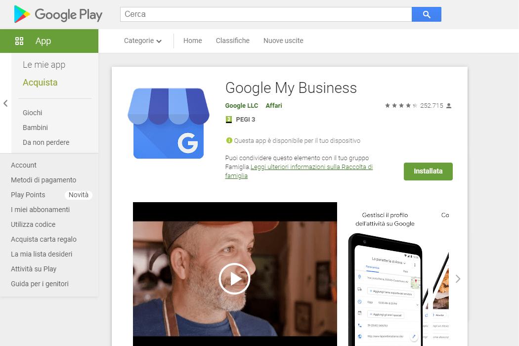 Screenshot Google Play Store per Android - App Google My Business