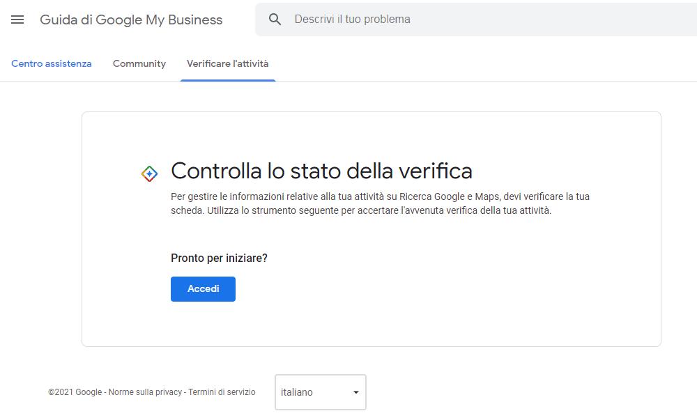 Screenshot controlla lo stato della verifica attività: Guida di Google My Business