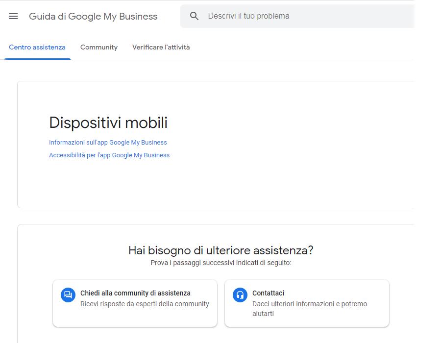 screenshot guida google my business app infomazioni accessibilità